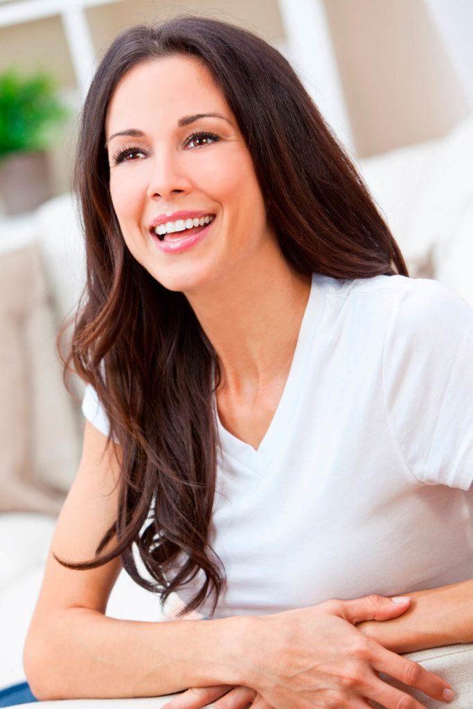 beautiful brunette woman smiling