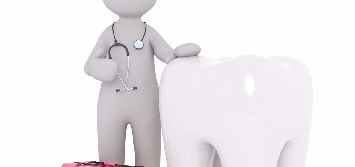 Miniature 3D Dentist Character beside tooth